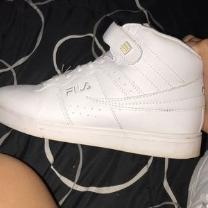 Fila high top all white shoes